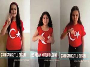 Öğrencilerden  işaret diliyle 23 Nisan kutlaması